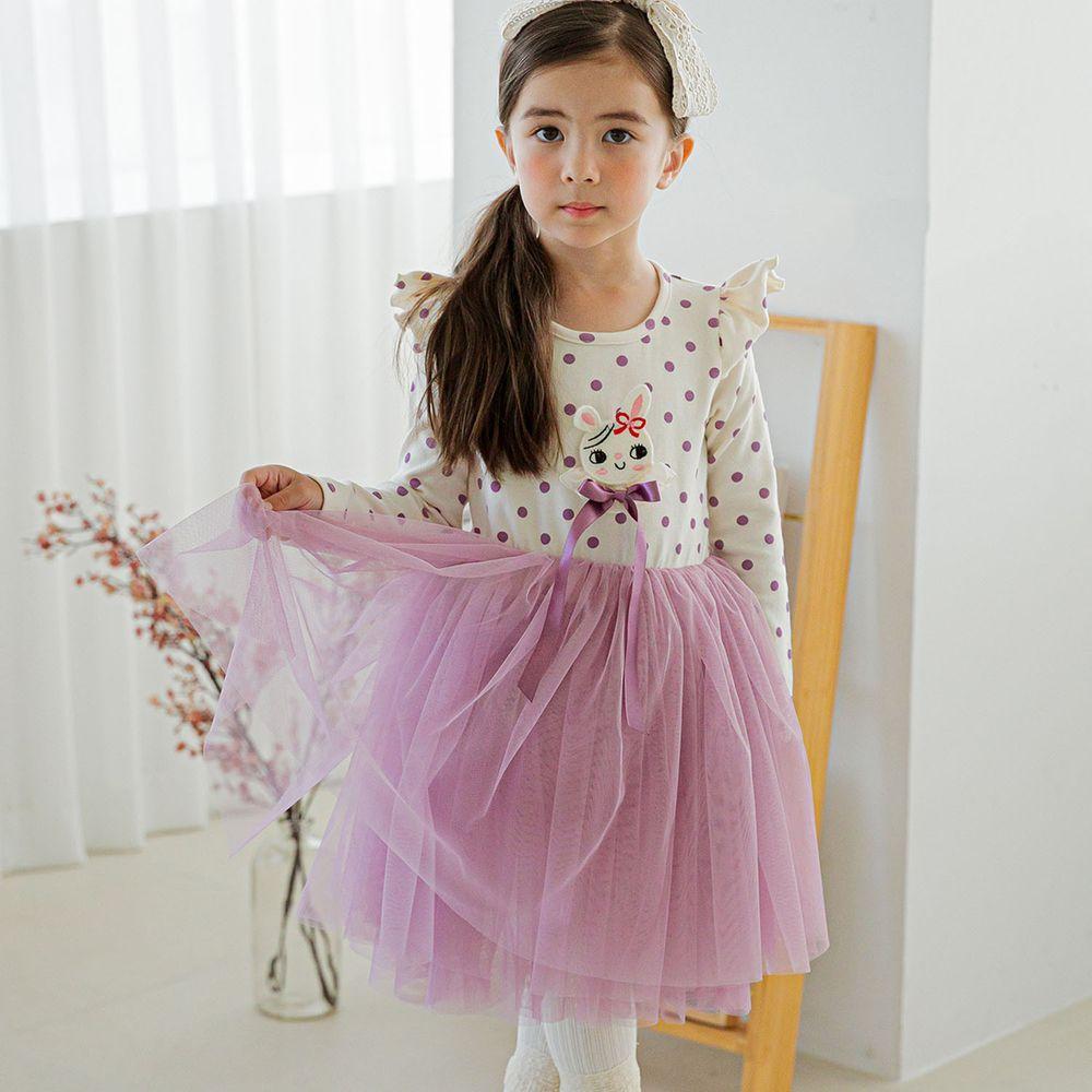 韓國 Mari an u - 點點小兔網紗洋裝-米白X紫