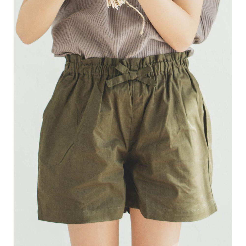 日本 PAIRMANON - 純棉小蝴蝶結短褲-墨綠