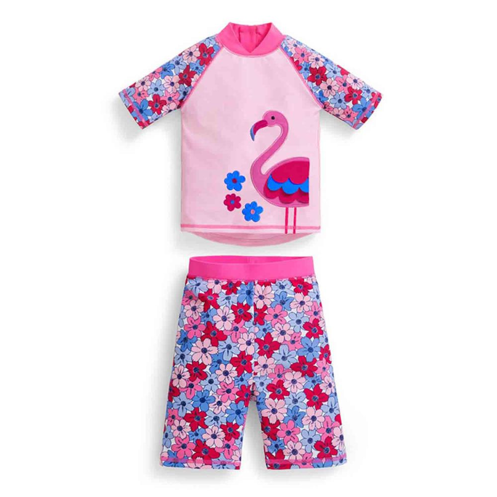 英國 JoJo Maman BeBe - 嬰幼兒/兒童兩件式防曬泳裝-紅鶴