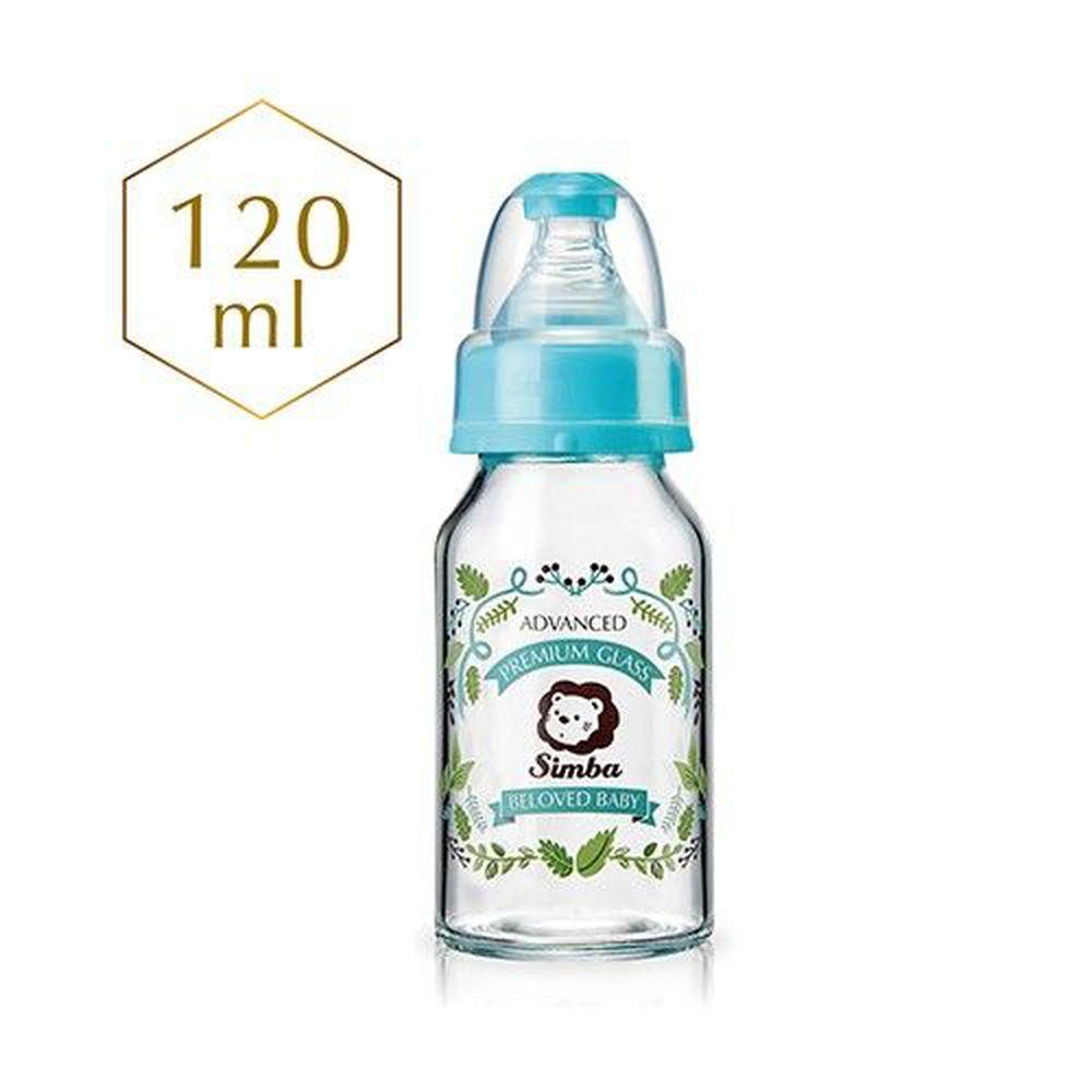 Simba 小獅王辛巴 - 蘿蔓晶鑽標準玻璃小奶瓶-奧勒岡香草花園-附標準十字奶嘴-120ml/支