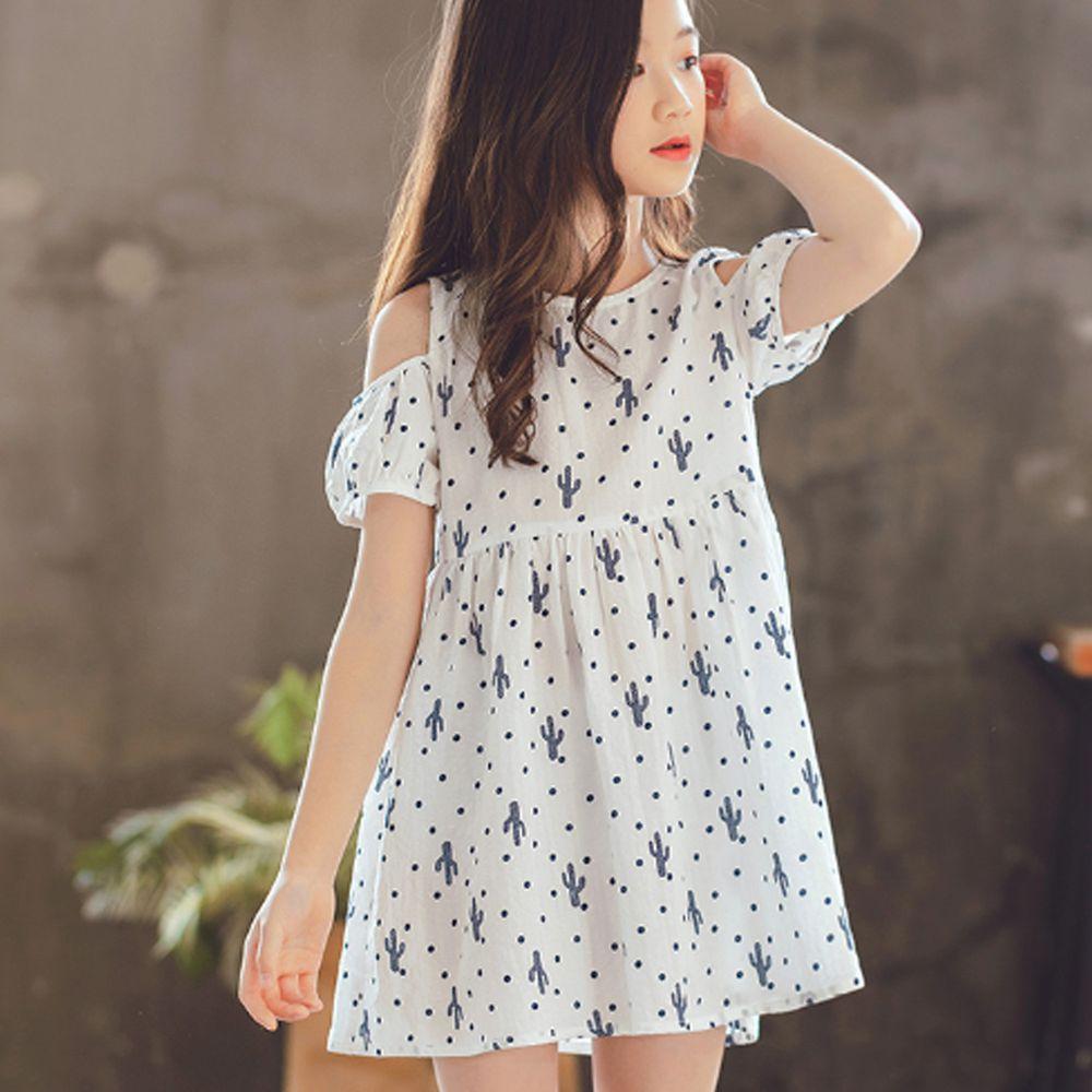 TOUNGIEE - 仙人掌微露肩白色洋裝