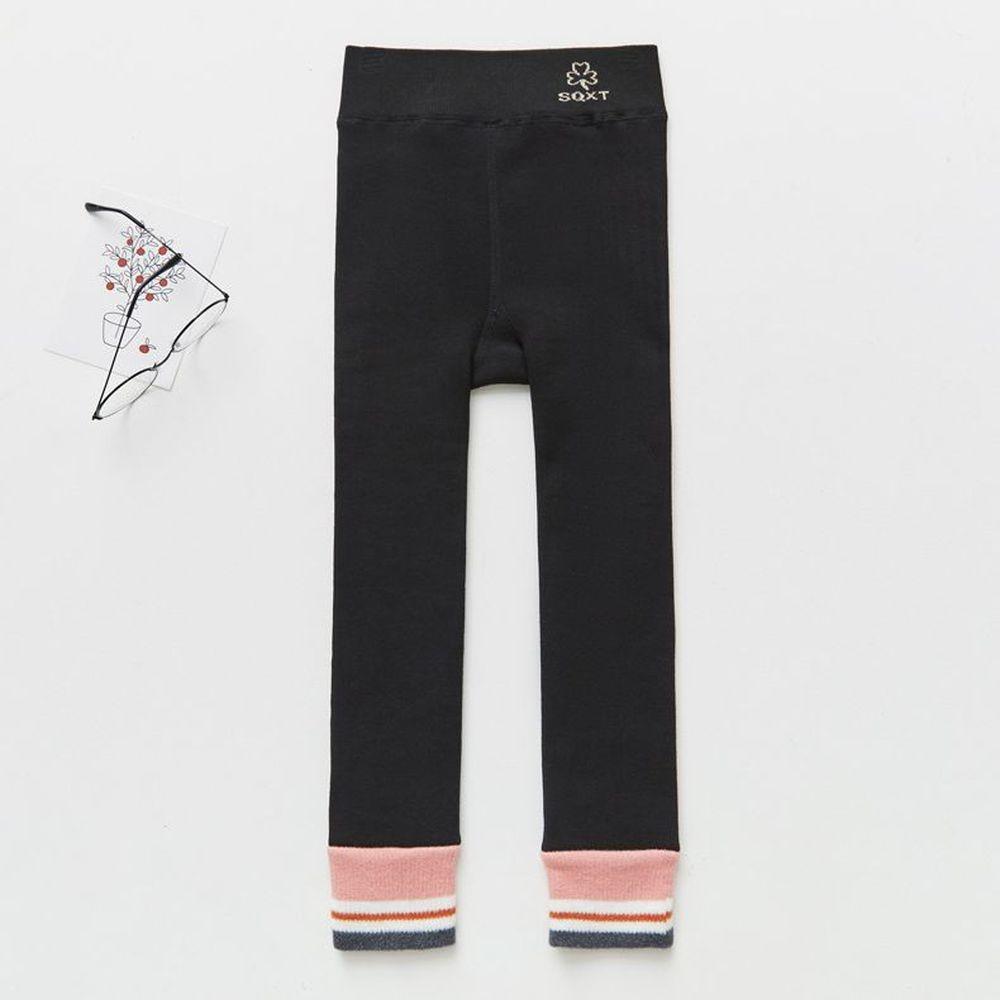 FANMOU - 溫暖加絨內搭褲-簡約撞色-黑x粉