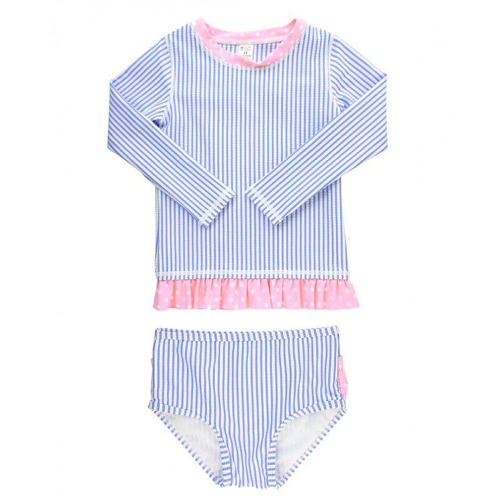 美國 RuffleButts - 小女童UPF 50+防曬兩件式長袖泳裝-粉紫條紋