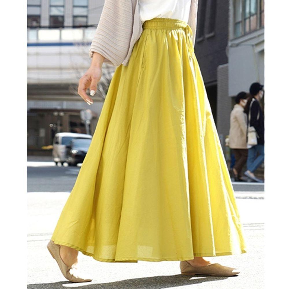 日本 zootie - 100%印度棉舒適傘狀長裙-萊姆黃 (Free)