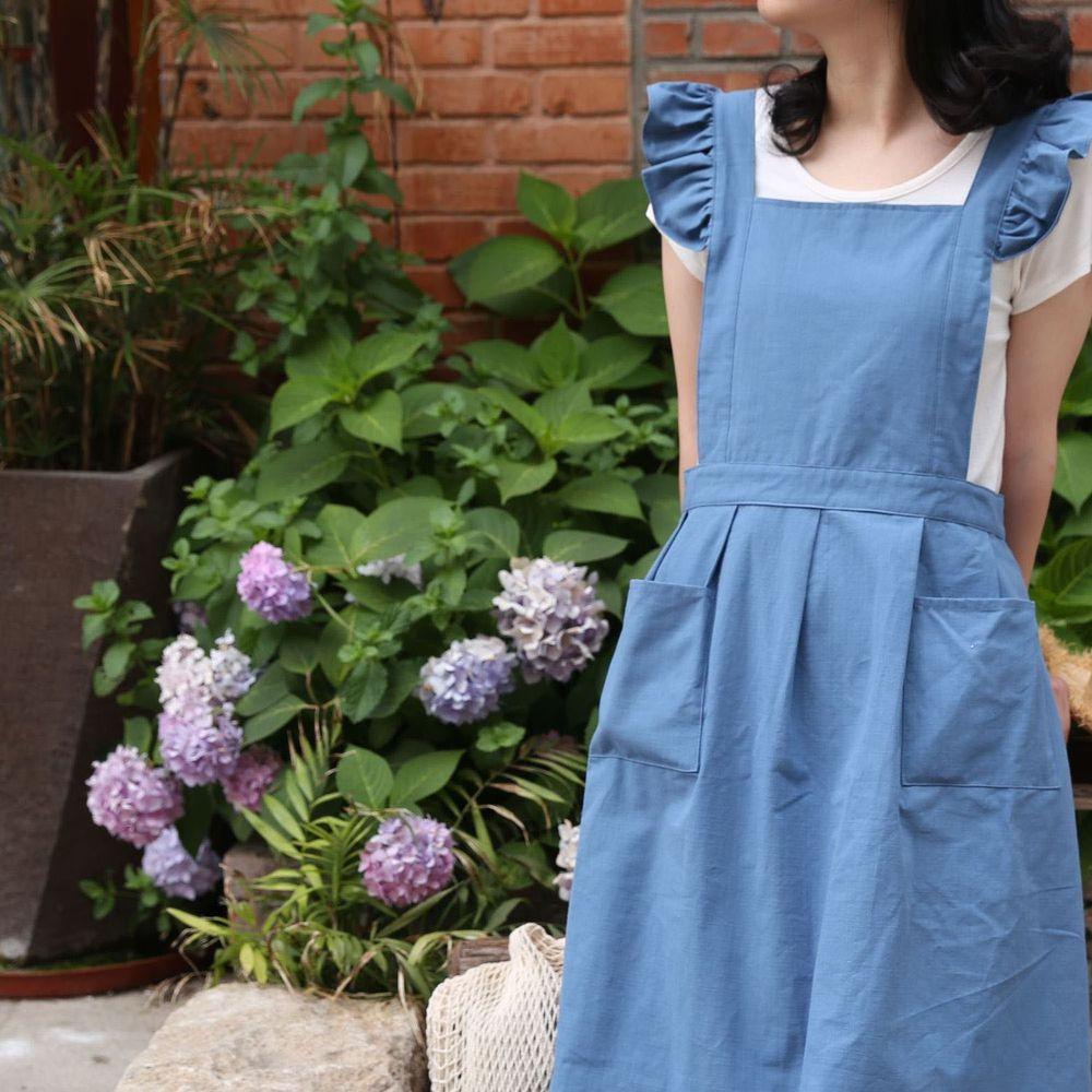 浪漫荷葉袖肩帶圍裙-藍色