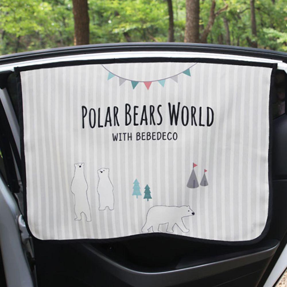 韓國 Bebe Deco - 三層遮光磁鐵遮陽窗簾-北極熊 (65*45cm)