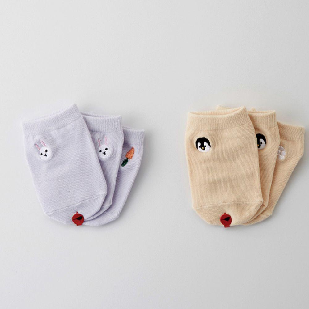 韓國 Kokacharm - 韓國製船型襪-2+1件組-Penguin & Rabbit Socks