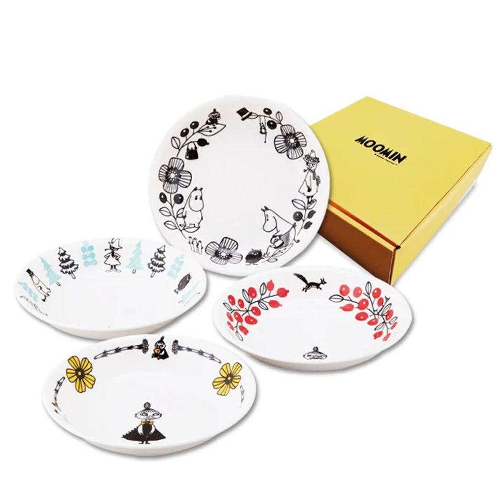 日本山加 yamaka - moomin 嚕嚕米彩繪陶瓷深盤禮盒-MM1400-184-4入組