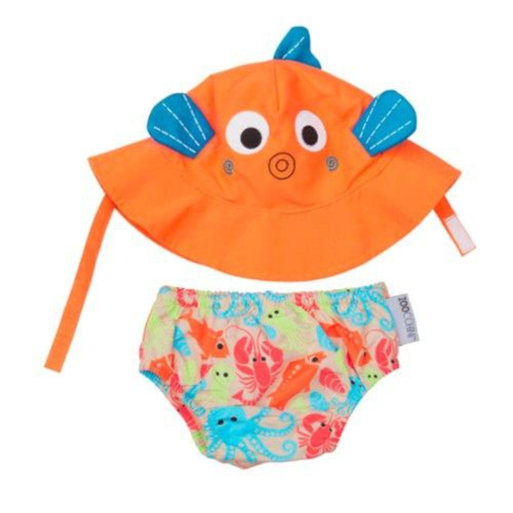 美國 ZOOCCHINI - 可愛動物尿布泳褲+防曬遮陽帽-小魚 (12M-24M)