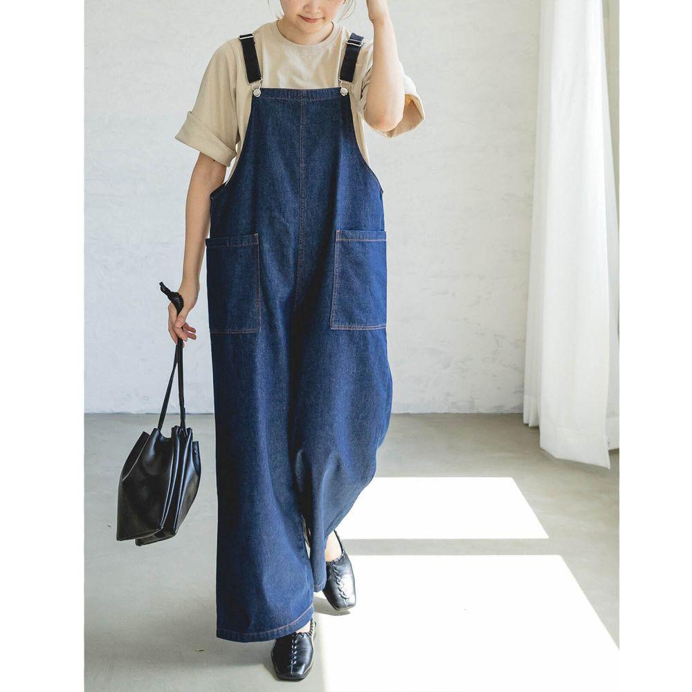 日本 PAIRMANON - 純棉雙口袋吊帶褲(媽媽)-深藍 (FREE)