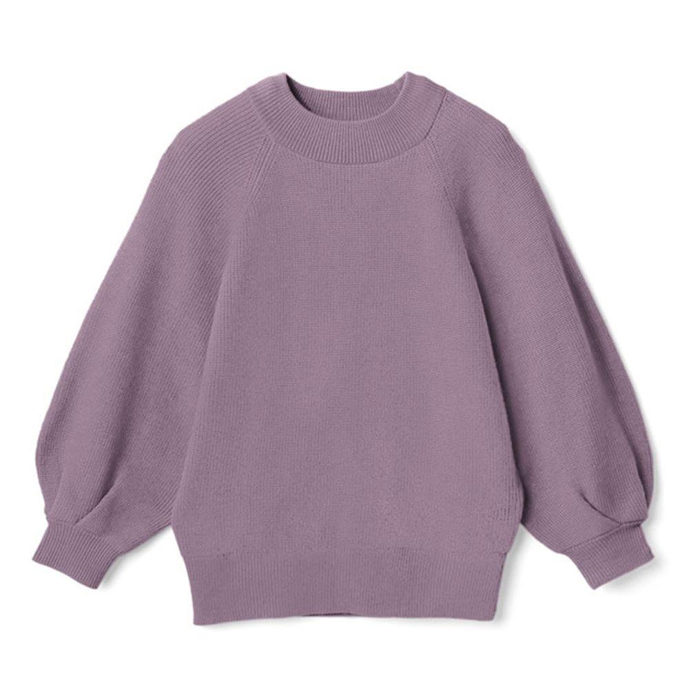日本 GRL - 小高圓領七分袖薄款針織上衣-紫