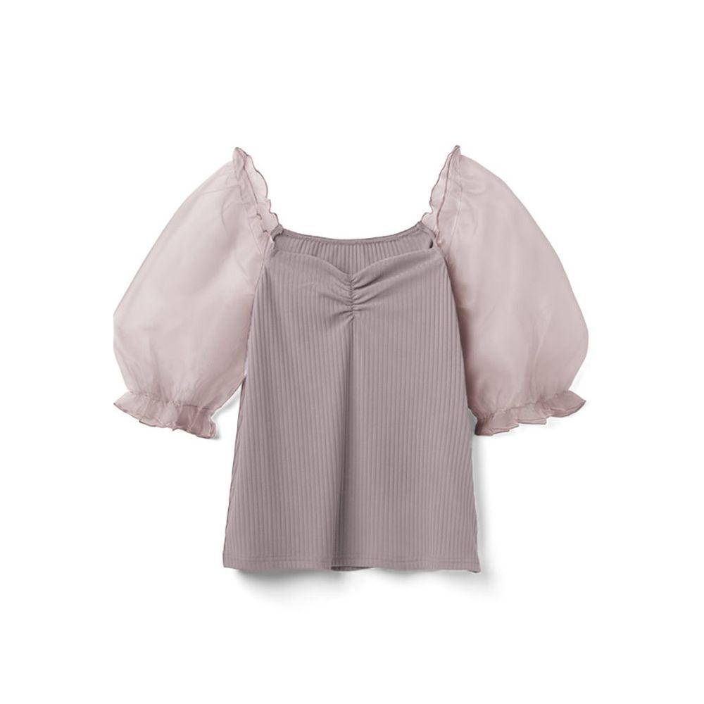 日本 GRL - 異材質薄紗澎澎袖羅紋上衣-薰衣草
