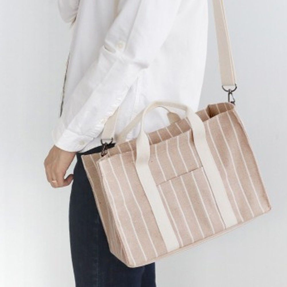 韓國 Conitale - 帆布多隔層媽媽包/推車收納袋-線條杏 (31X22X15cm)
