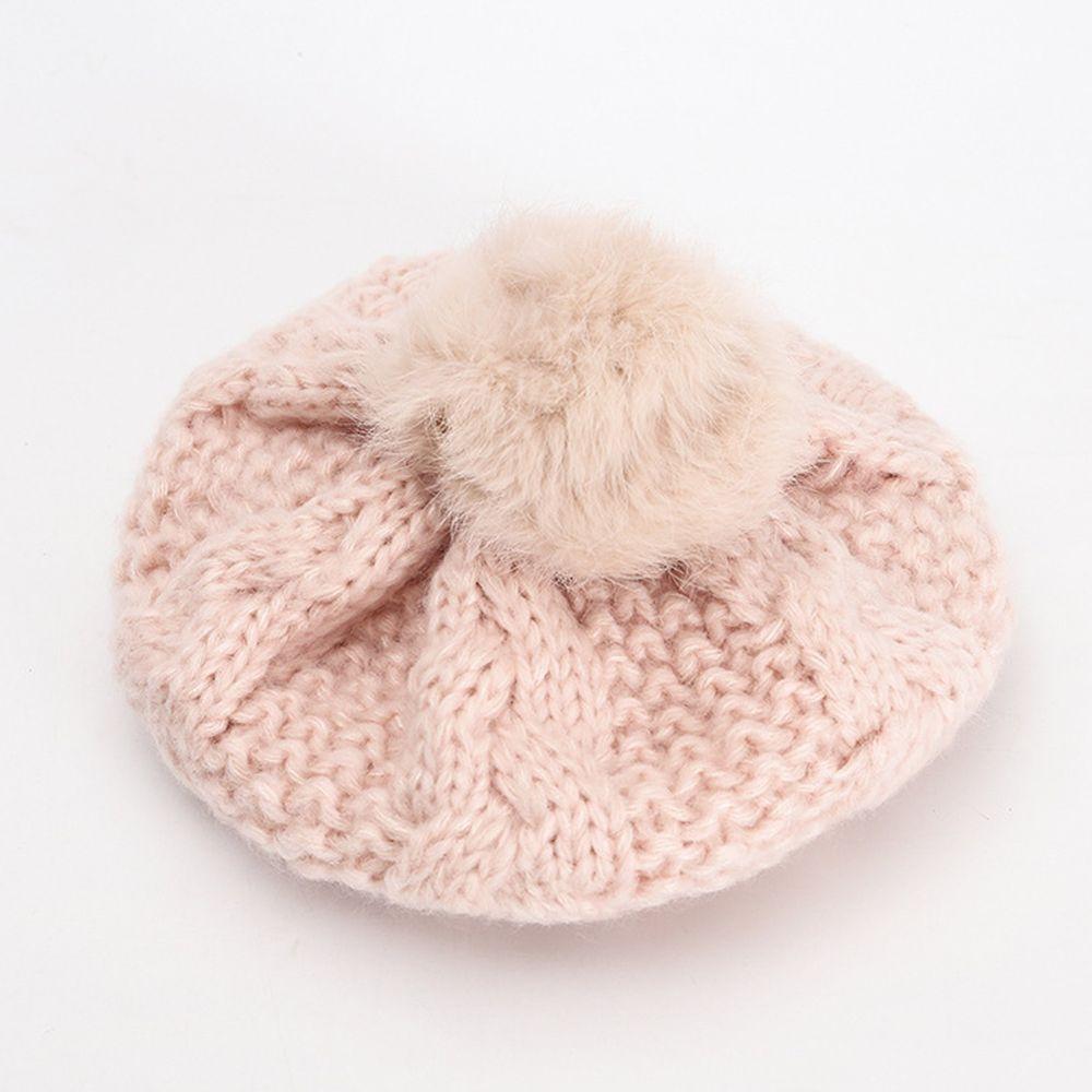 針織毛球貝雷帽-粉色 (52CM(2-5Y))