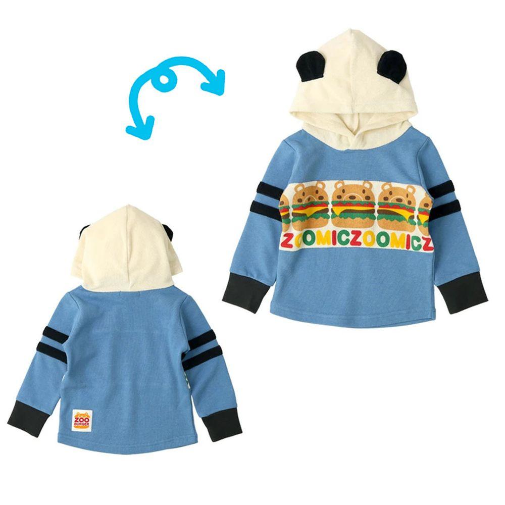 日本 ZOOLAND - 裏毛拼接帽T-漢堡小熊-米藍