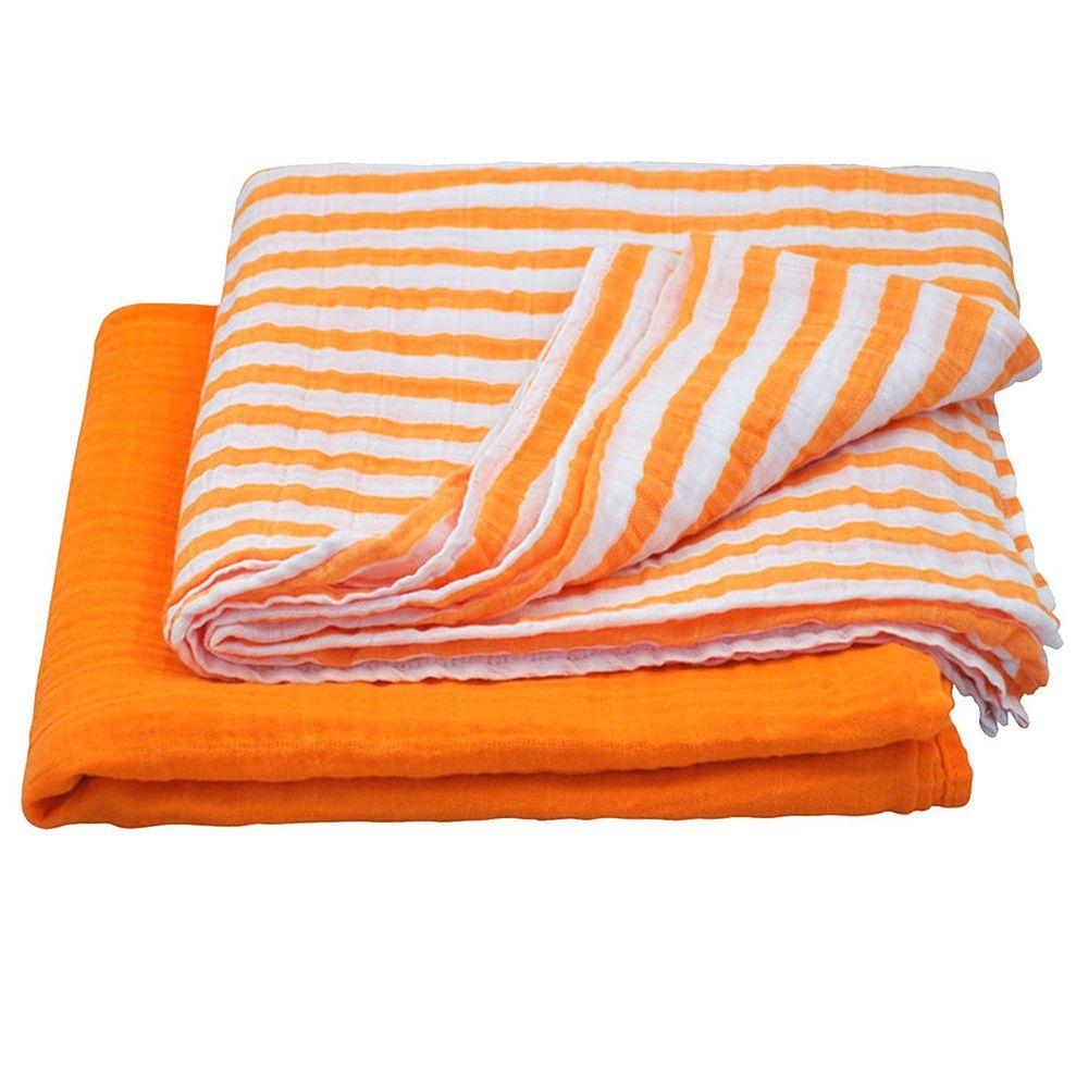 美國 green sprouts - 有機棉細紗浴巾/包巾2入組-亮橘組 (單一尺寸)