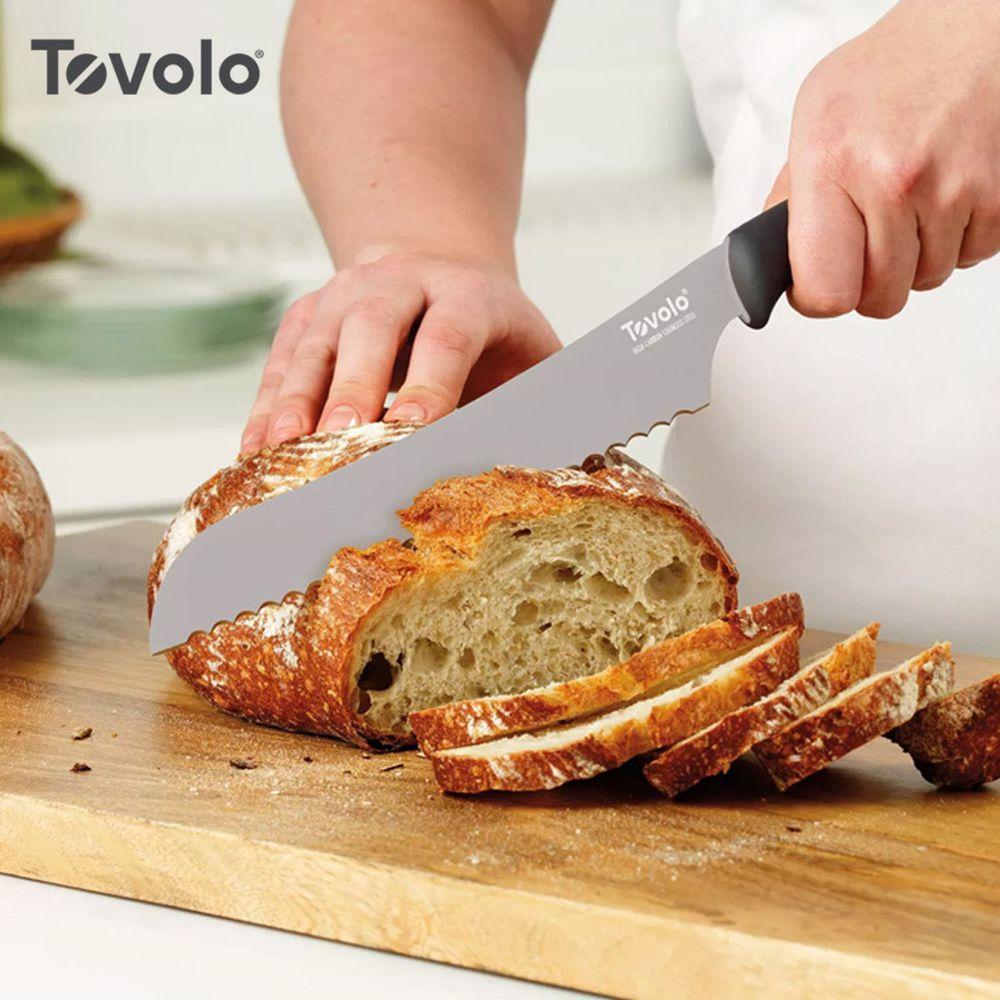 美國 Tovolo - 舒適握感不鏽鋼鋸齒麵包刀-21cm