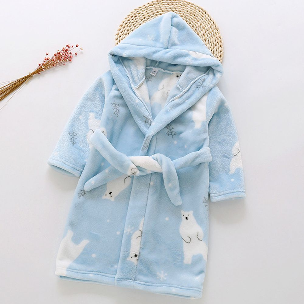 超柔軟珊瑚絨浴袍睡衣-藍色北極熊