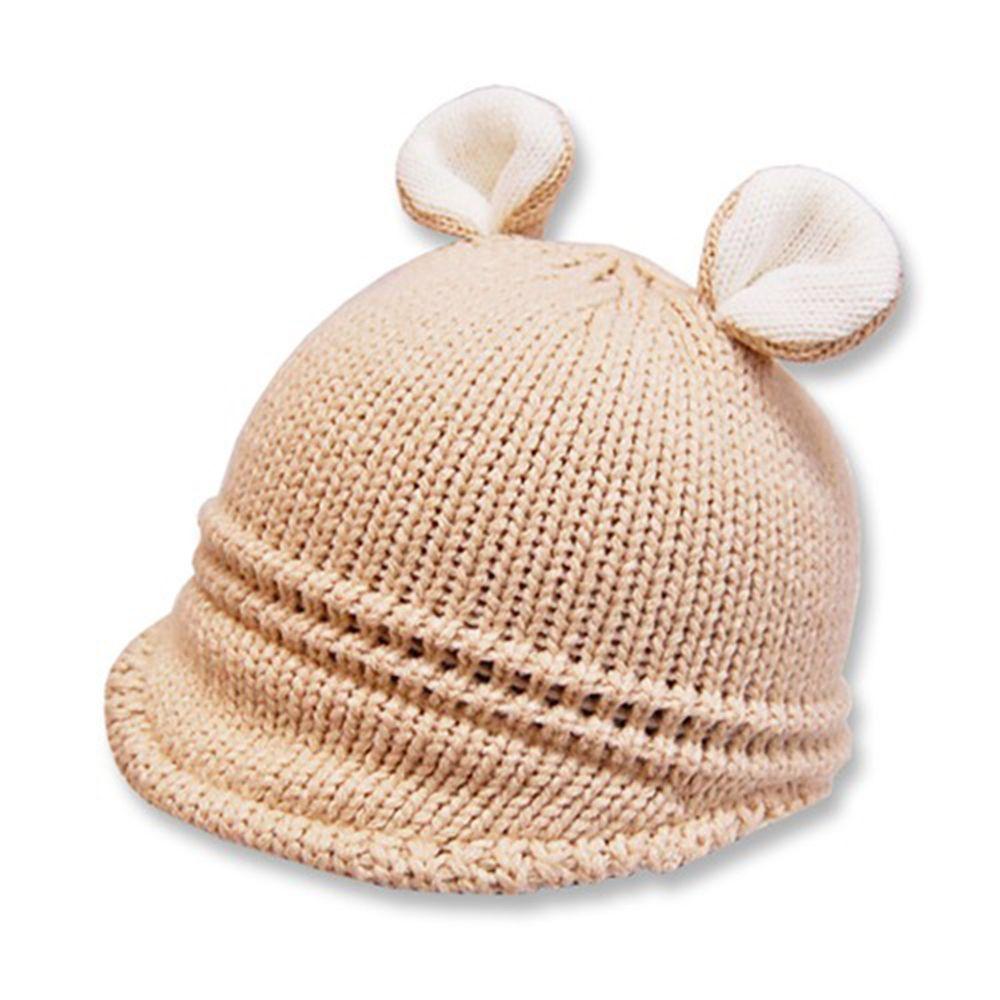 日本 ROMPING UNIVERSE - 可愛保暖帽-小童款-熊耳朵針織毛帽_米色 (M(50-52cm))-93-6011