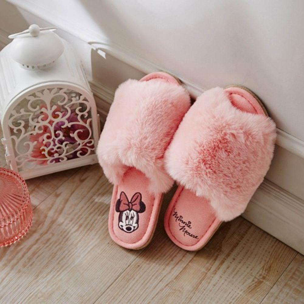 日本千趣會 - 迪士尼室內拖鞋(奢華毛絨款)-米妮-粉 (23-25cm)