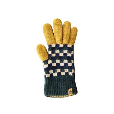 Tehtava日本製保暖觸控手套(成人款)-格紋-綠x芥末