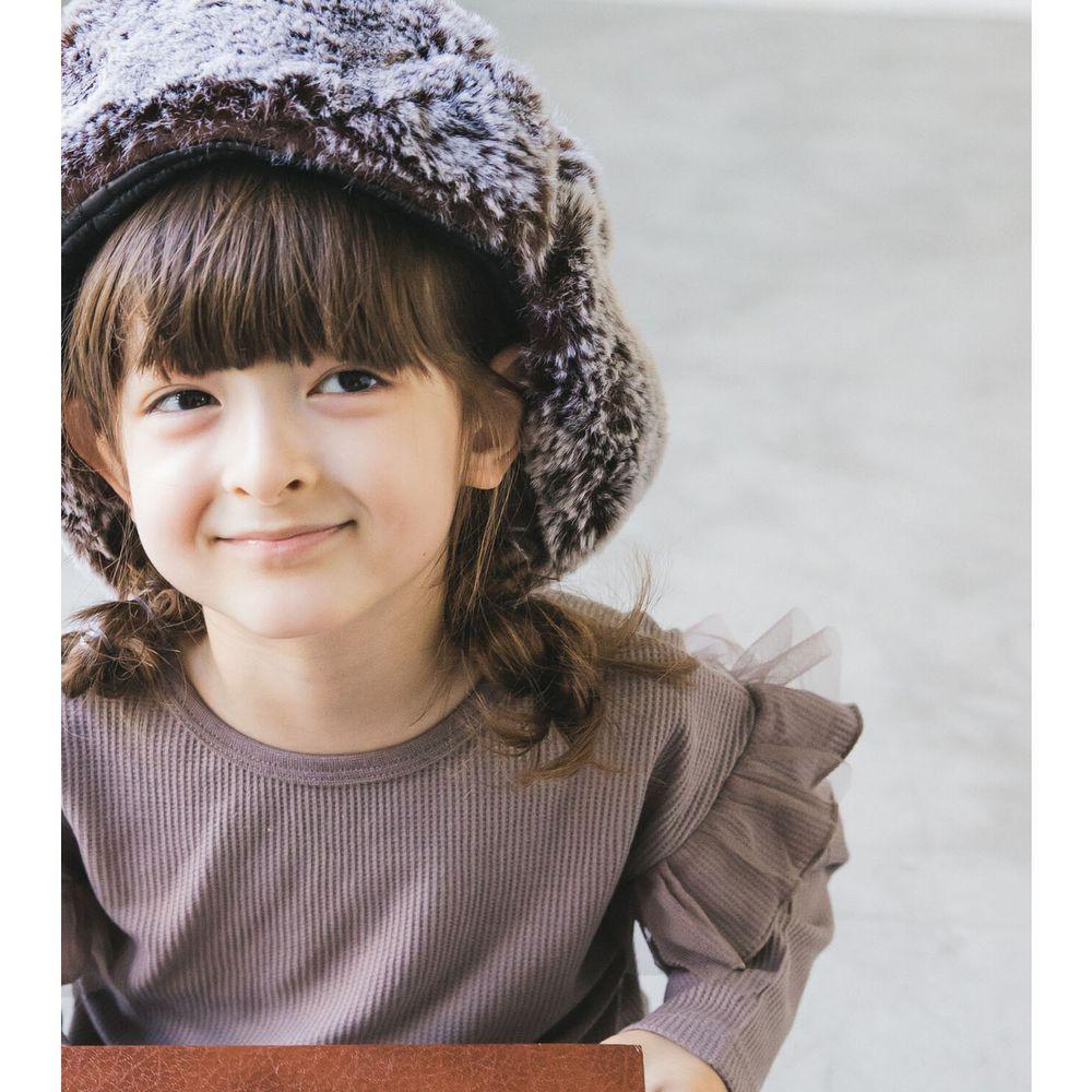 日本 PAIRMANON - 上臂荷葉薄紗層次鬆餅紋長袖上衣-摩卡