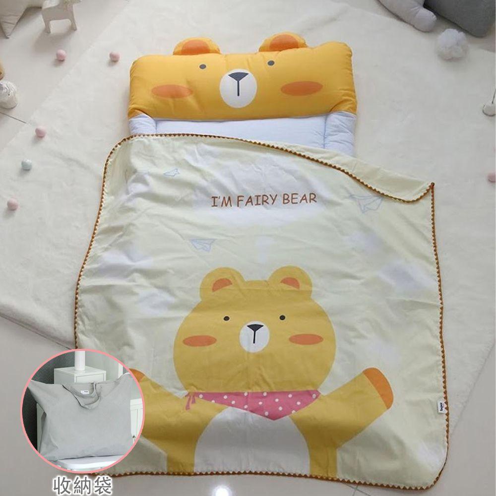 韓國 Teepee - 5CM雙面厚墊兒童睡袋/寢具(無拉鏈)(附收納袋)-帥氣小黃熊