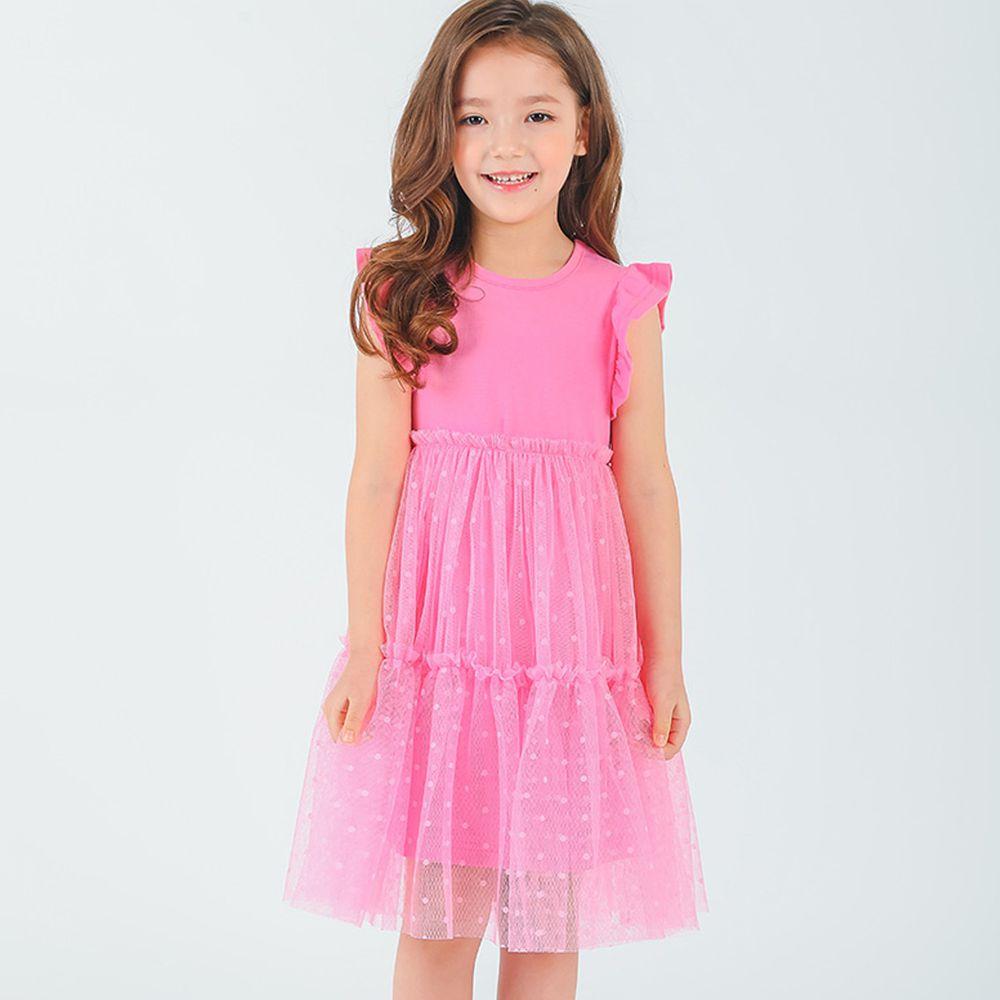 韓國 OZKIZ - 點點網紗拼接洋裝-粉紅