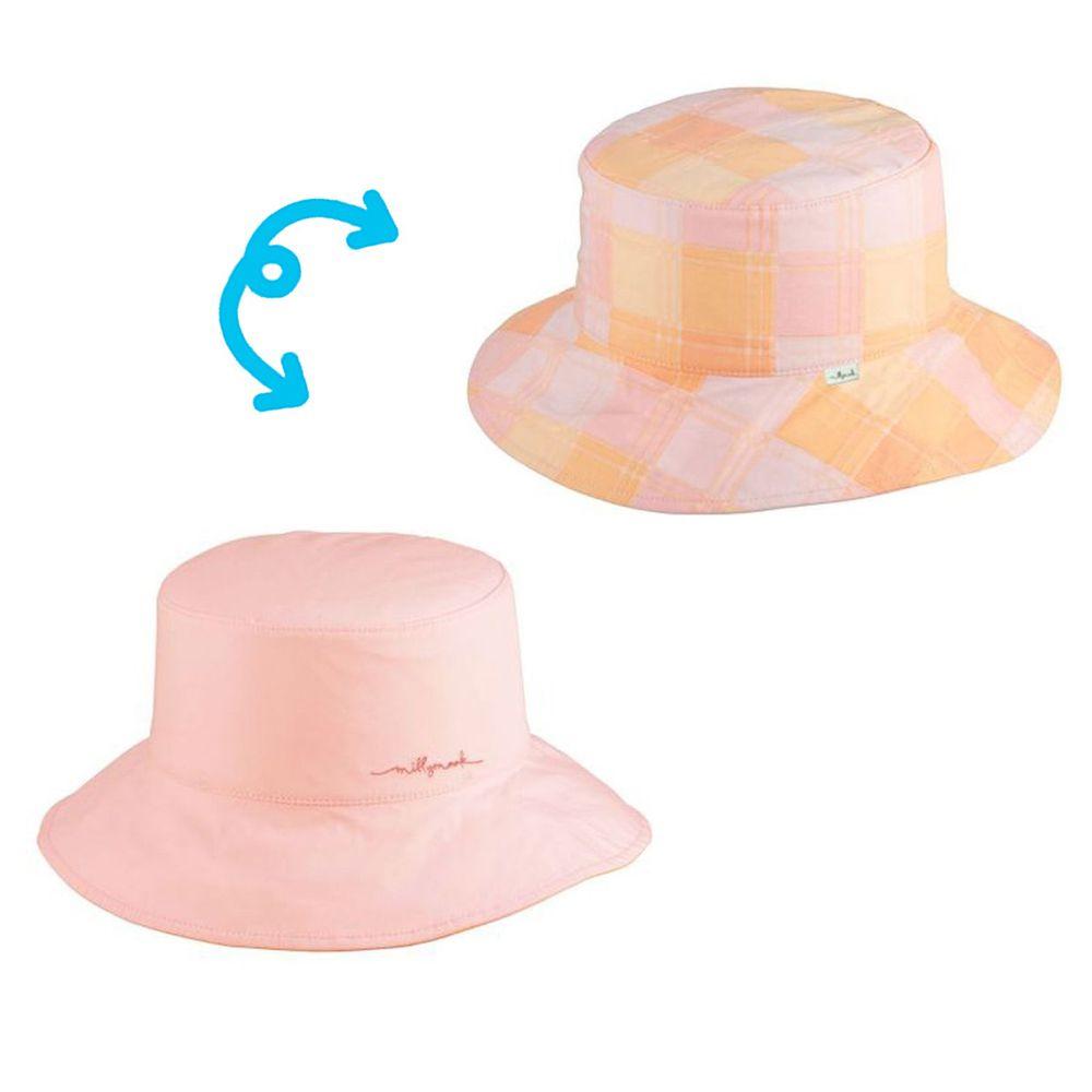 Millymook & Dozer - 粉橘格子雙面漁夫帽