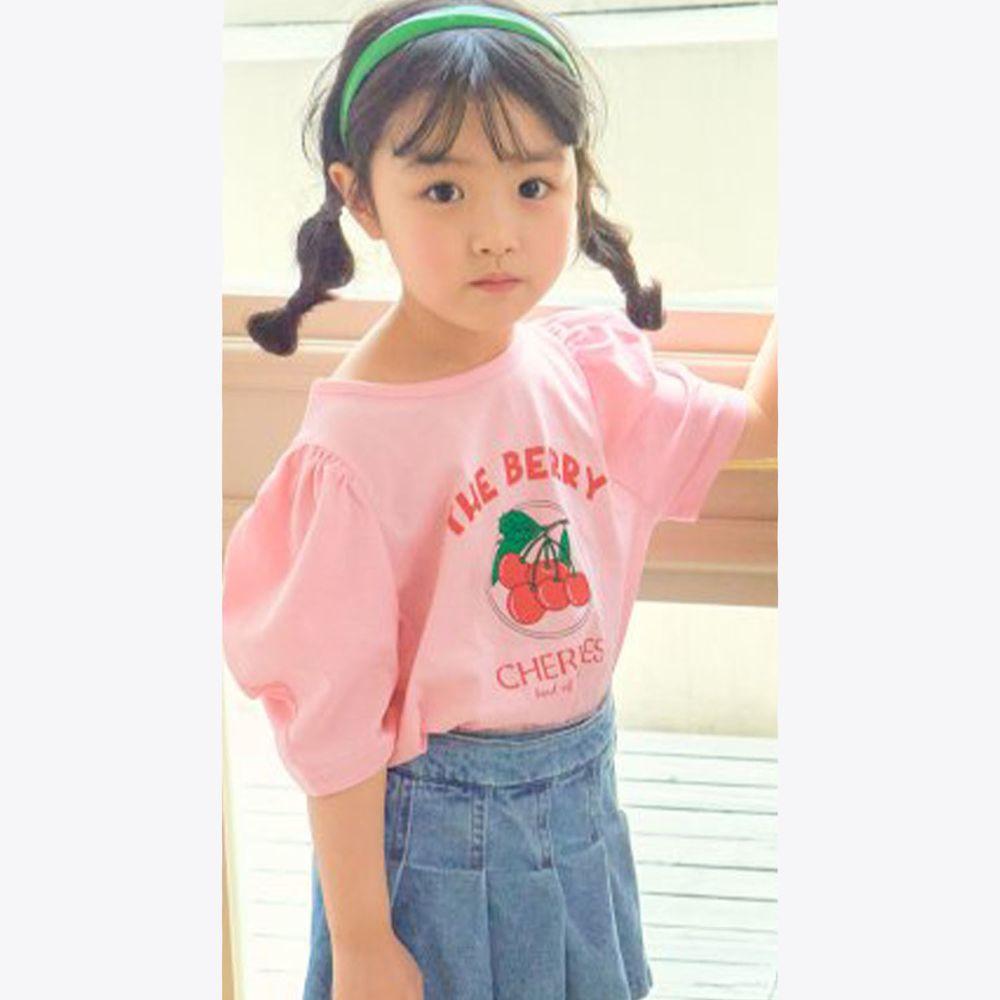 韓國 Hanab - 一串櫻桃泡泡袖純棉上衣-粉紅