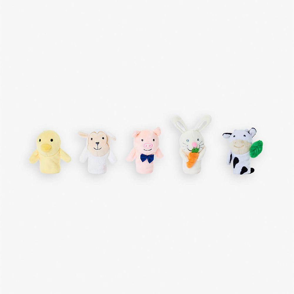 英國 JoJo Maman BeBe - 優質玩具/手指布偶5入_布玩系列-豬豬之家