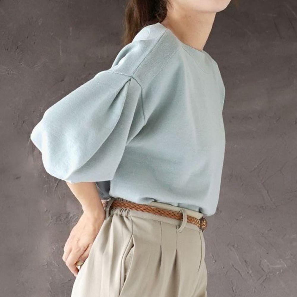 日本 zootie - 澎袖剪裁廣口針織上衣-薄荷