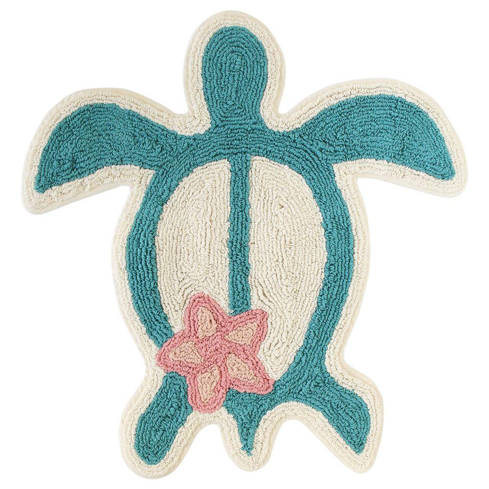 日本 TOMO - 夏威夷海洋風針織地墊-海龜-藍綠 (約65×62cm)
