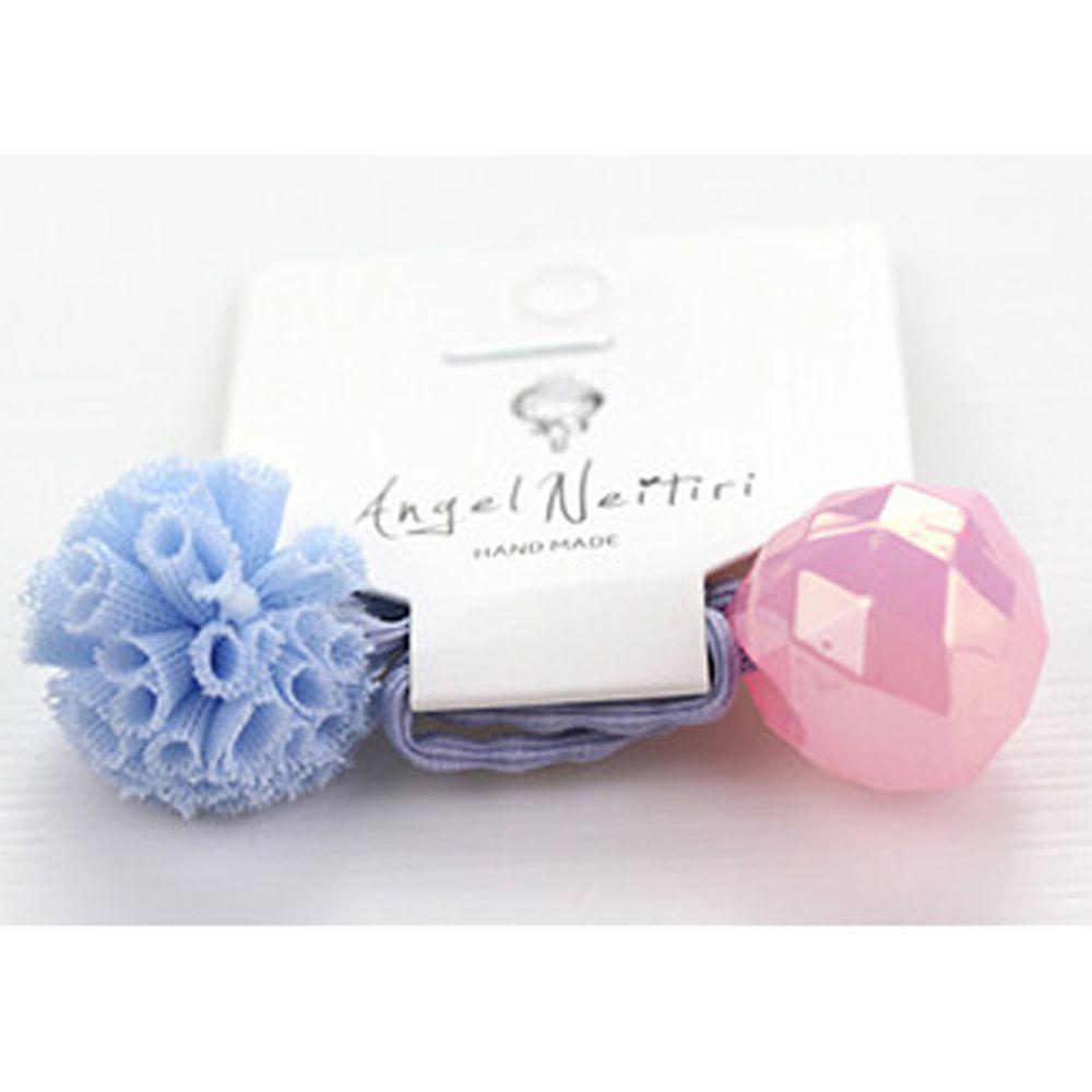 日本 Maison de Ravi - 浪漫紗球髮圈-藍X粉 (Free)
