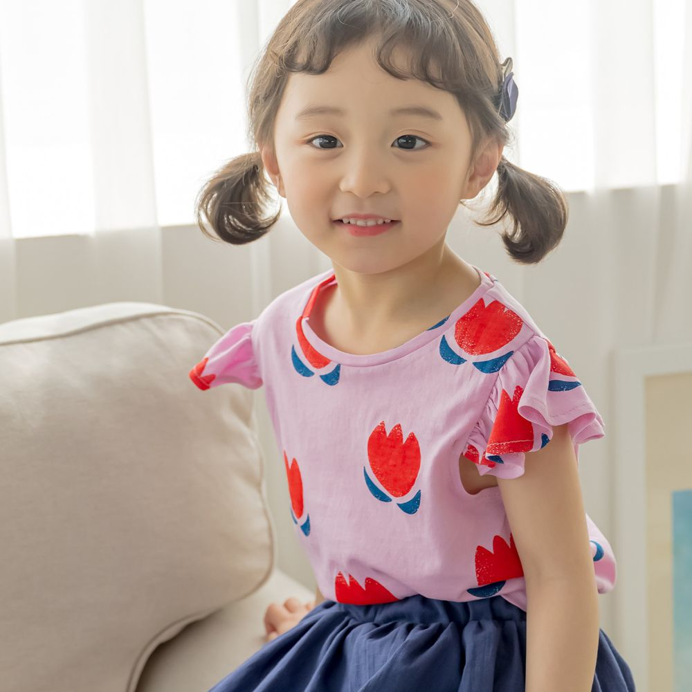 韓國 Orange Mom - 萌萌鬱金香荷葉袖上衣-粉紅