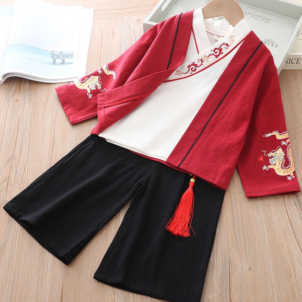龍紋罩衫漢服套裝-上衣+褲子+外套