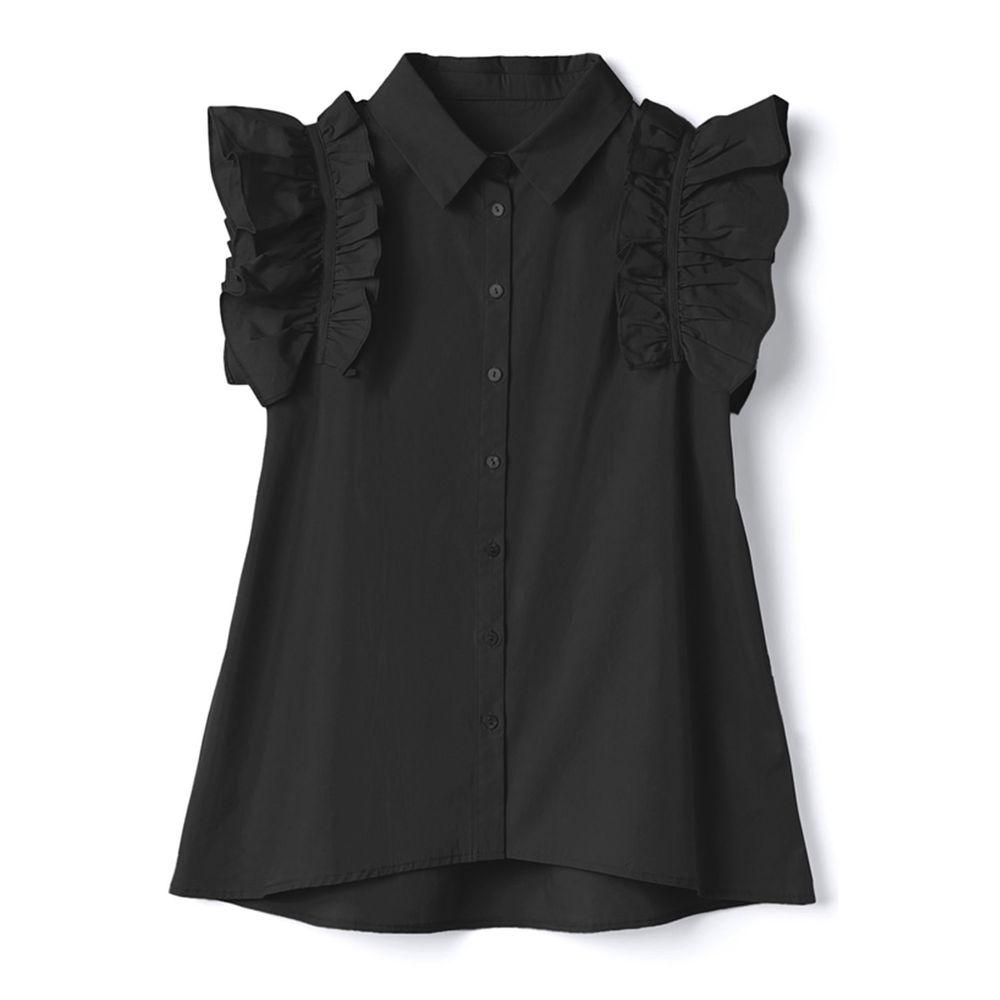 日本 GRL - 荷葉飛飛無袖上衣-時尚黑