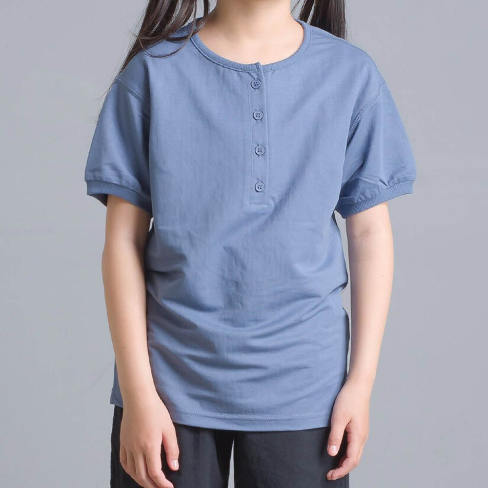 日本女裝代購 - 接觸冷感 排釦圓領短T(兒童)-藍