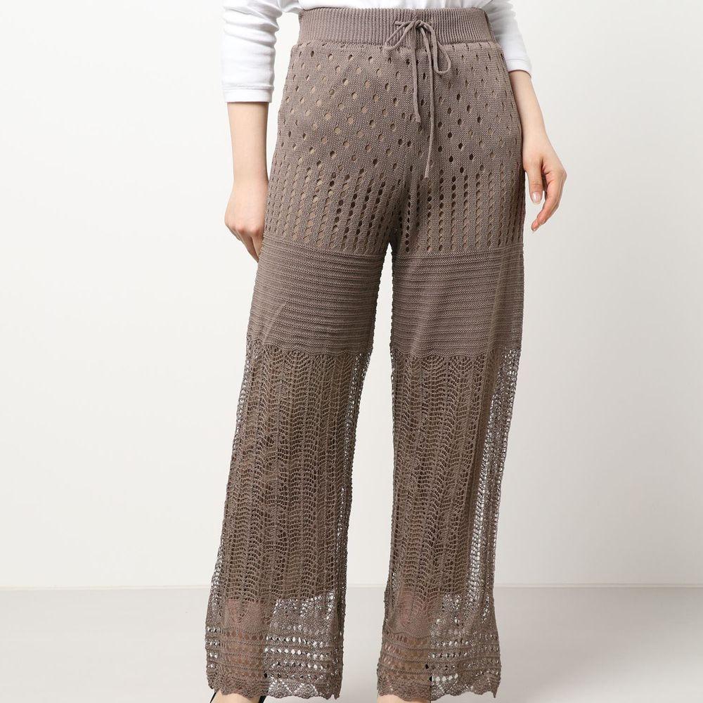 日本 Riche Glamour - 簍空針織落地長褲(有內襯)-灰杏