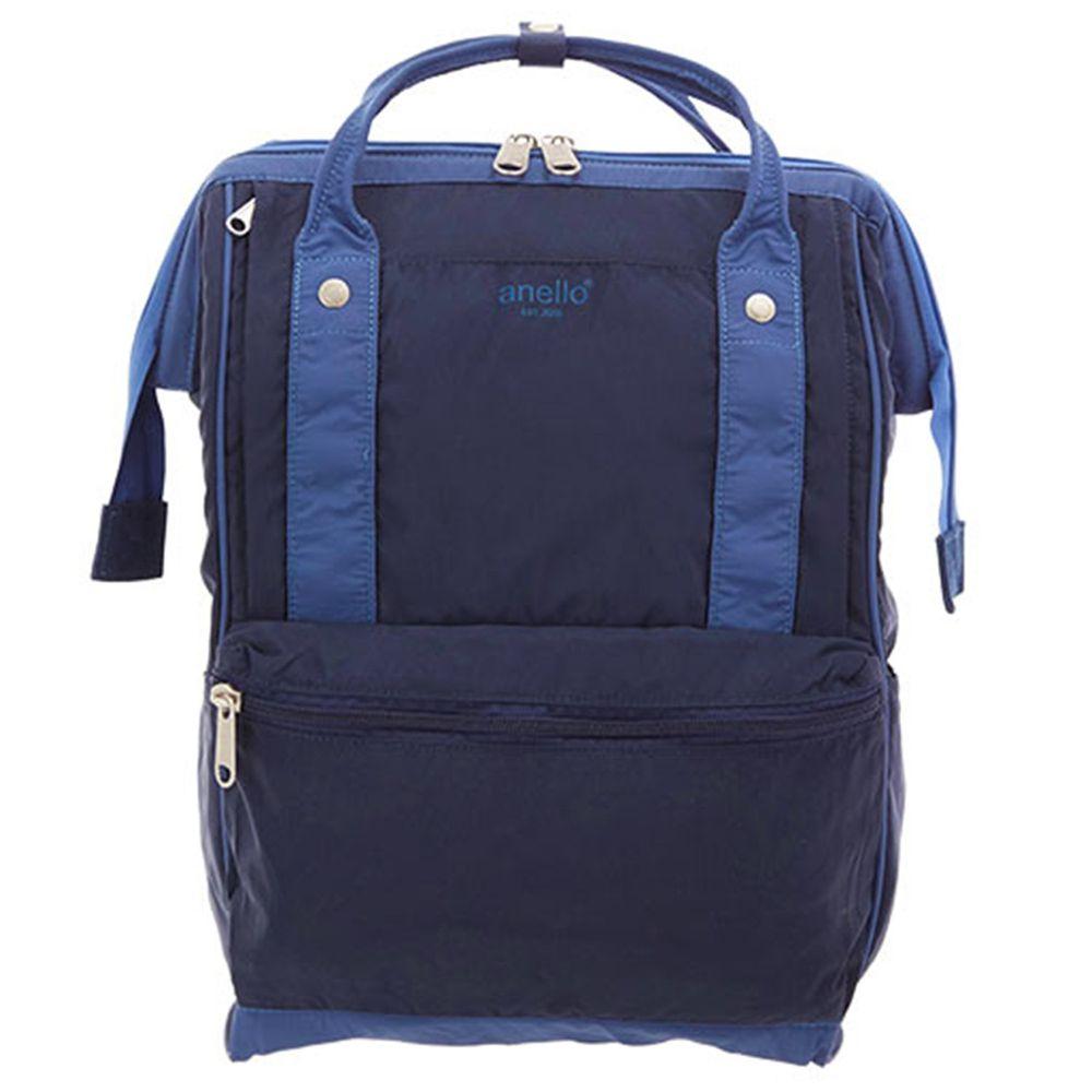 日本 Anello - 棉質尼龍風大開口後背包 10POCKET-Regular大尺寸-NV海軍藍