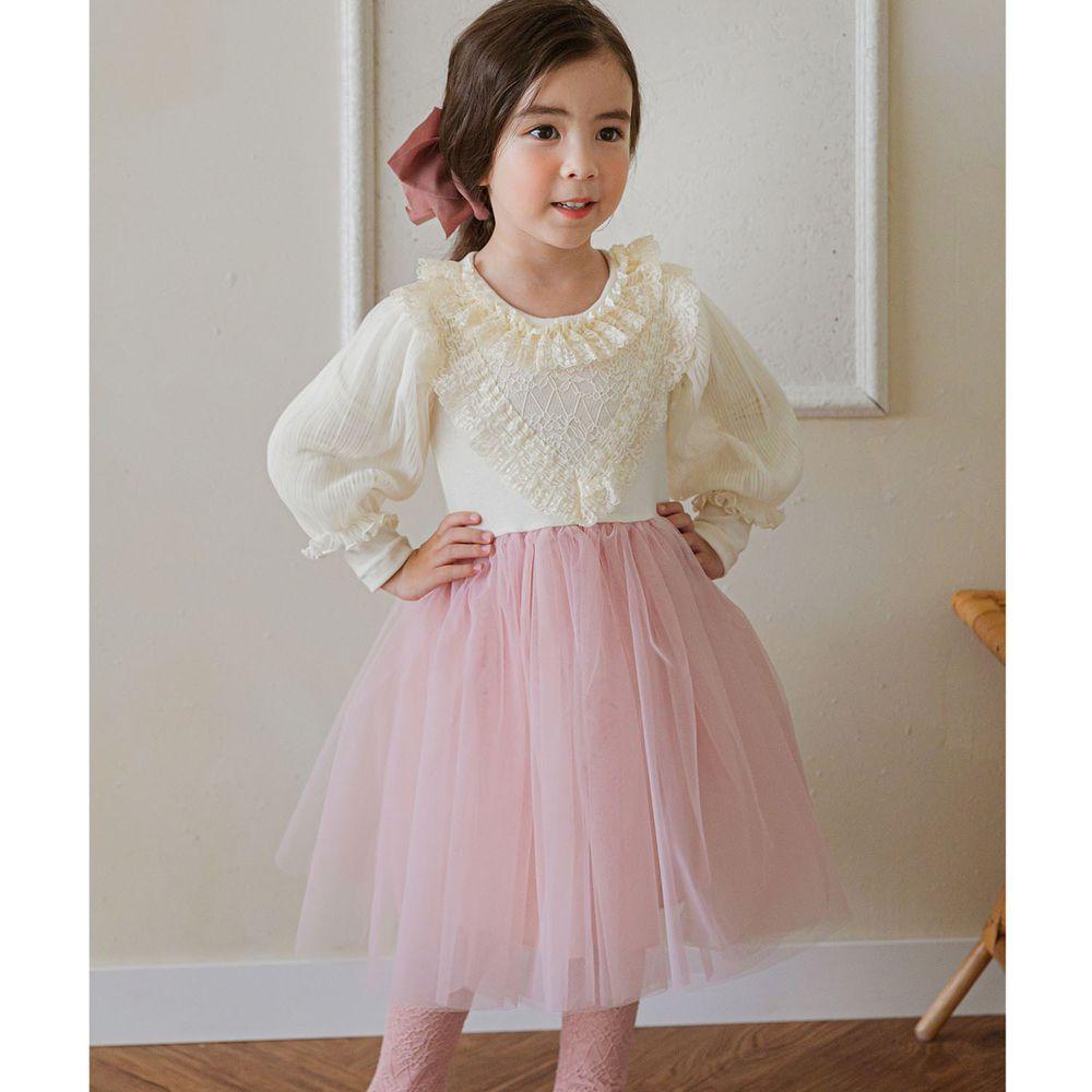 韓國 Mari an u - 浪漫蕾絲領泡泡袖網紗洋裝-米白X粉紅