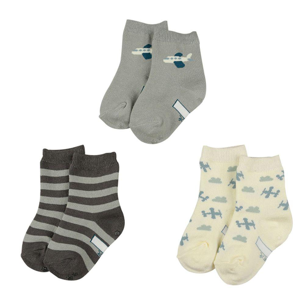 akachan honpo - 男中筒襪3雙組-飛機-灰色 (9~14cm)