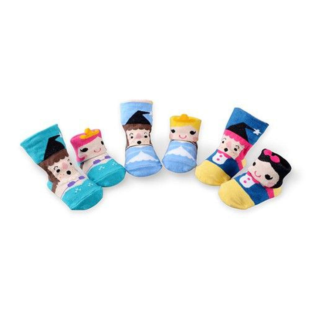 貝柔 Peilou - 貝寶童話公主寶寶襪3入組-3款各1(白雪公主/灰姑娘/人魚公主)-隨機色 (9-12cm)