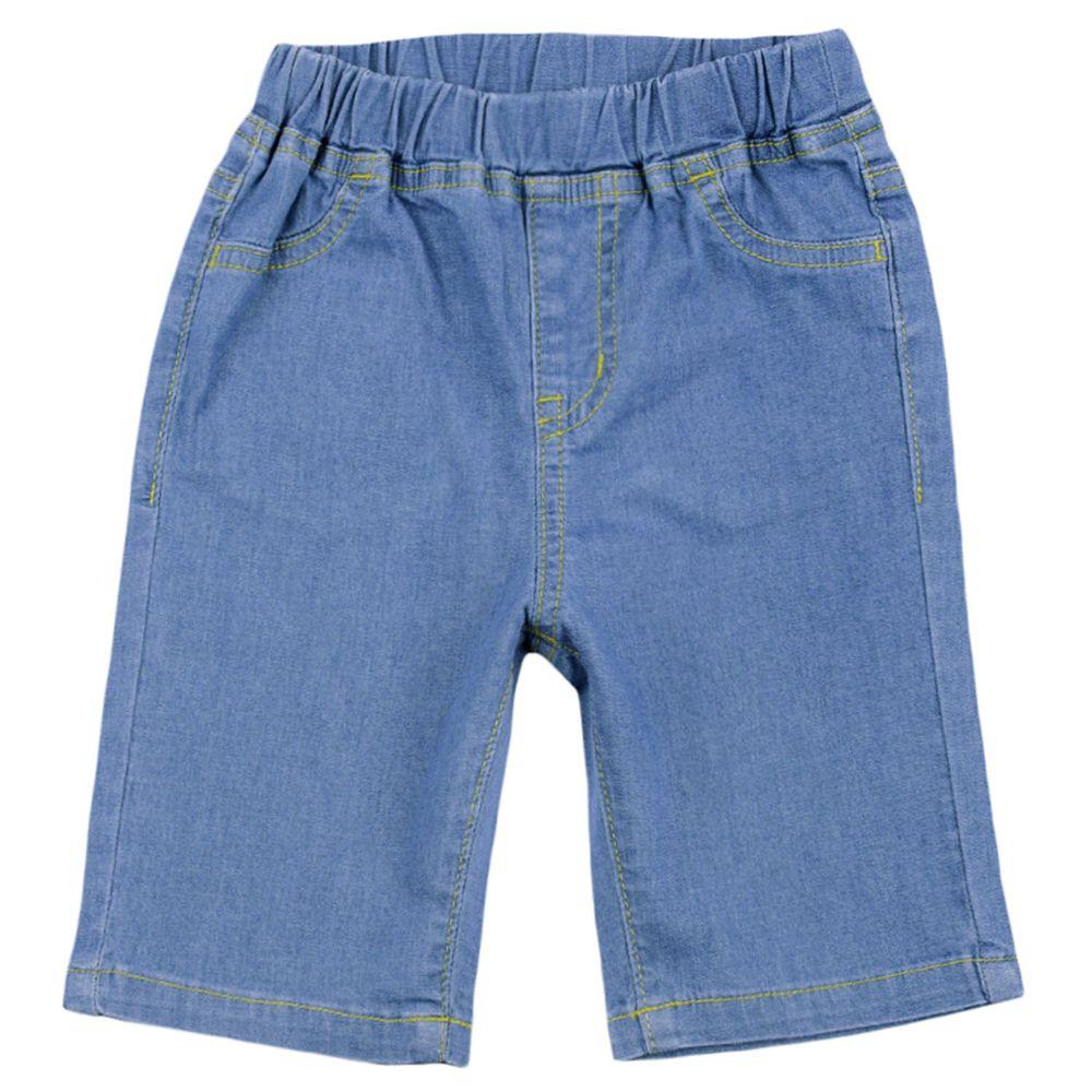 akachan honpo - 6分牛仔短褲-藍色