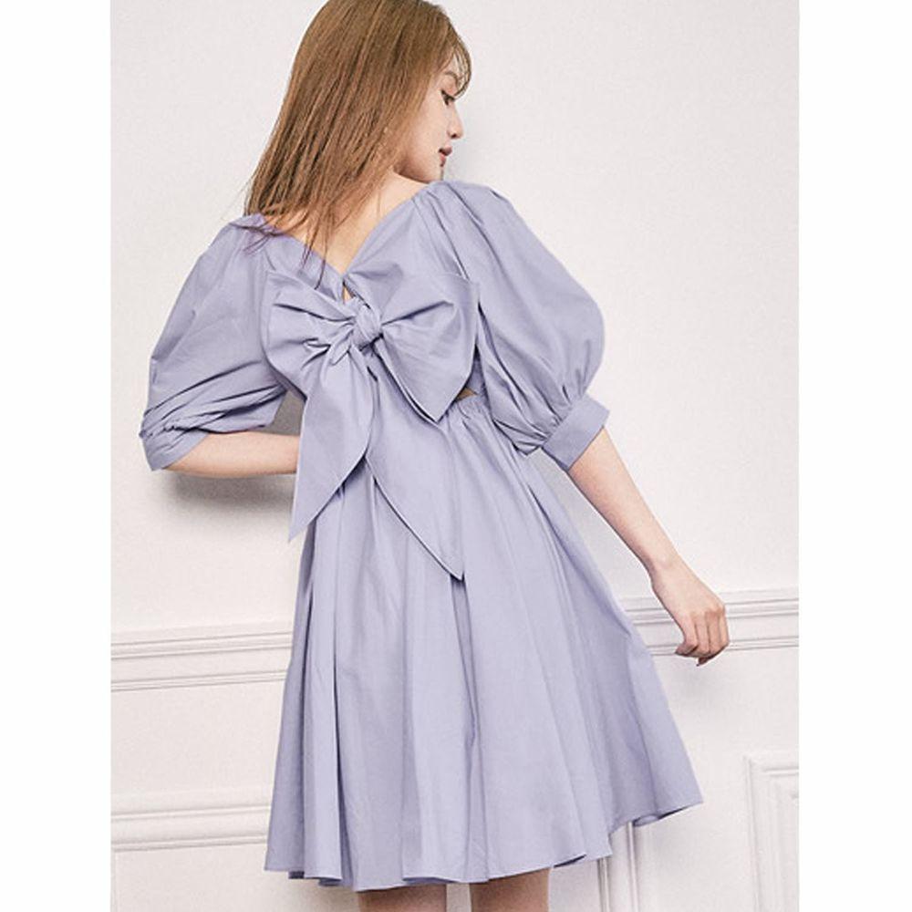 日本 GRL - 2way甜美大蝴蝶結美腰五分袖洋裝-寶貝藍
