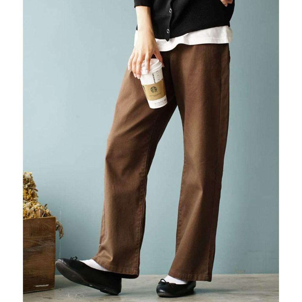 日本 zootie - 直筒百搭寬褲(腰圍可調節)-咖啡
