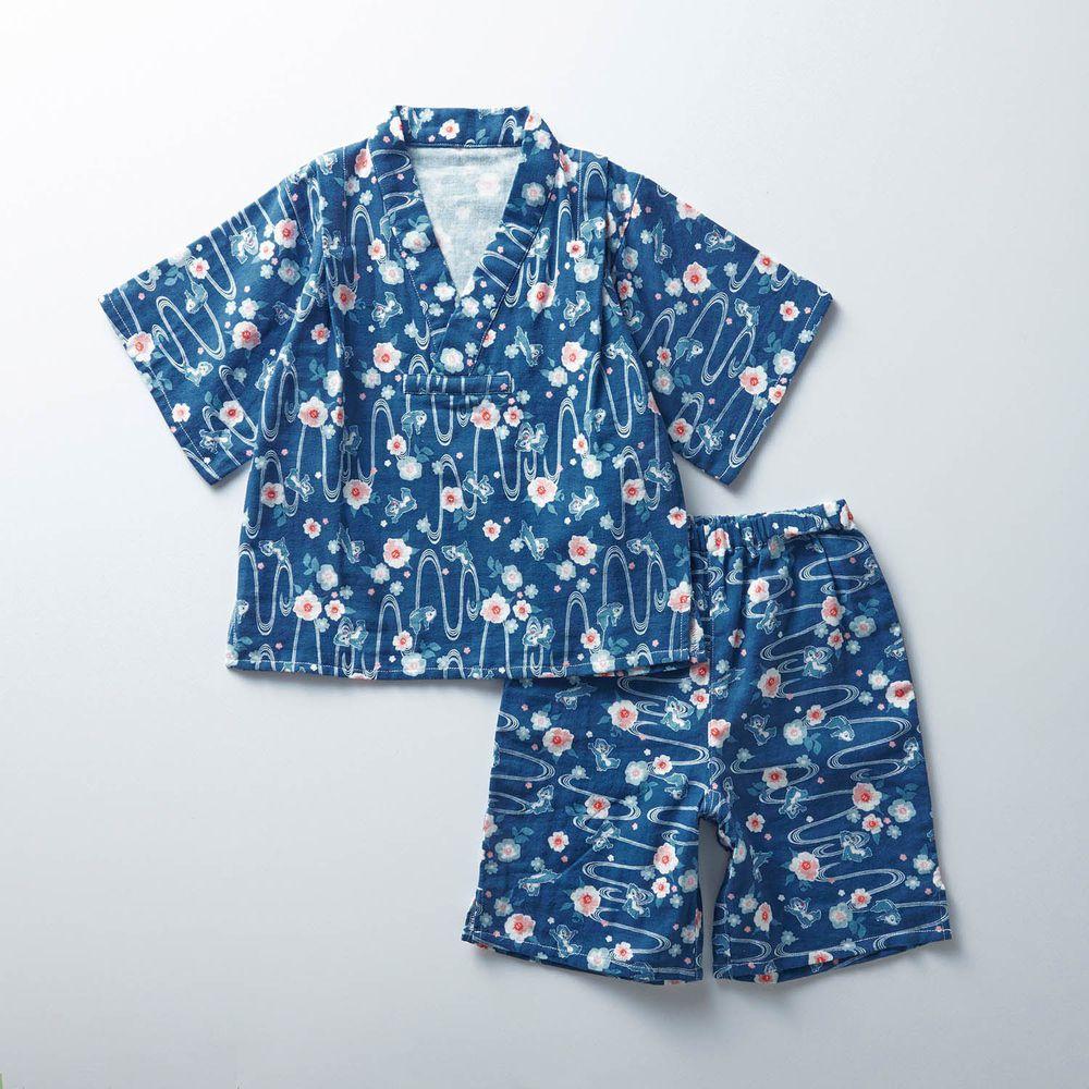 日本千趣會 - 迪士尼純棉甚平/家居服-(小孩)奇奇蒂蒂水紋-深藍