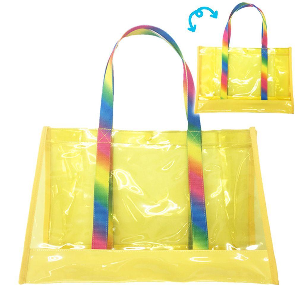 日本服飾代購 - 防水PVC游泳包(雙面圖案設計)-彩虹-黃 (25x36x13cm)