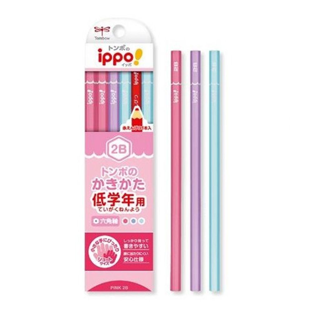 日本文具代購 - Tombow低學年用六角鉛筆12支(含紅色鉛筆*1)-2B-甜美