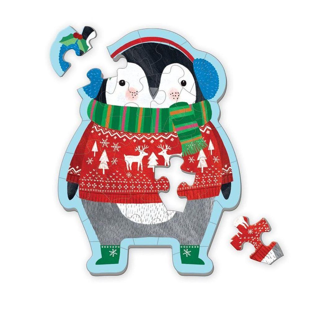 美國 mudpuppy - 【新品】造型迷你拼圖-冬天企鵝-24片